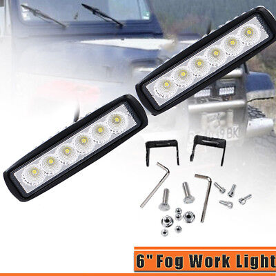 2pcs 6inch 18W CREE LED Work Light Bar 4WD Offroad Spot Fog ATV SUV Driving Lamp