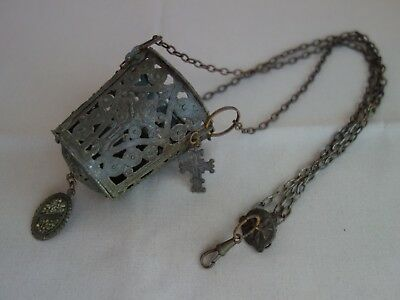 Vtg Antique Orthodox Hanging Brass Thurible Candle Icon Lamp Lampada Crycifix