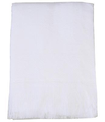 BABYPREM Baby Bedding Soft White Shawl Blanket With Fringe  122 x 122cm