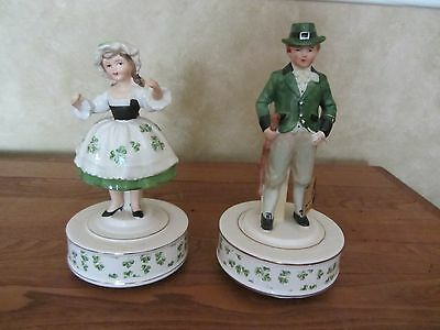 Vintage Schmid Irish Lass and Lad Music Boxes -Pair