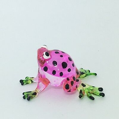 Tiny Pink Frog Figurine Miniature Amphibian Animal Hand Blown Glass