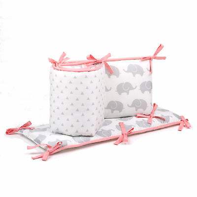 Grey Elephants and Geometric Baby Crib Reversible Bumper by The Peanut Shell