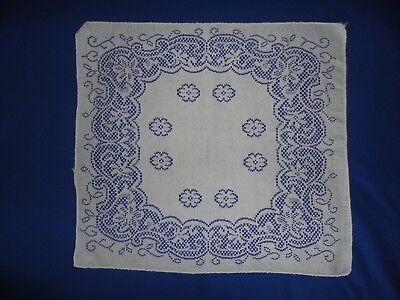 Vintage Ivory Lace Square Doily Center Piece Napkin 15 by 16 Inches