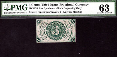 "Fr 1226-27spnmb M#3S3R.1a 3¢ Third Issue Specimen w/ Inverted ""SPECIMEN"" PMG 63"