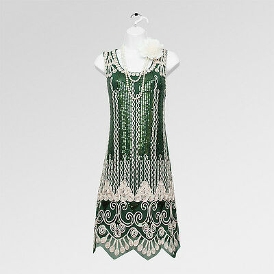 New 1920s gatsby vintage flapper charleston green sequin party dress UK 14/16