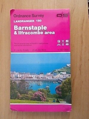 1992 ORDNANCE SURVEY LANDRANGER SHEET MAP No 180 BARNSTAPLE & ILFRACOMBE AREA