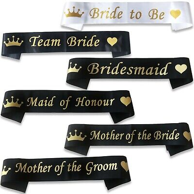 *Black With Gold* Team Bride Hen Night Party Do Sash Ribbon Wedding Girls Night