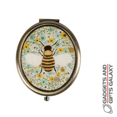 Summer Floral Bee Oval Compact Mirror Animal Lover Vintage Gift Novelty