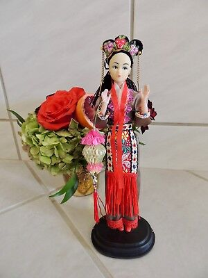 "Vintage Asian Or Chinese Doll In Colorful Outfit 11"" On Stand Display Ready"