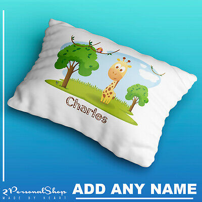 Personalised Cute Safari Animals Pillow Case Cushion Cover Custom Made Print 101