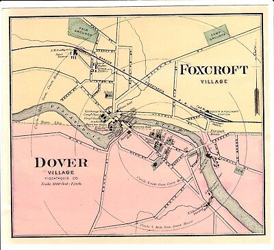 1888 Dover-Foxcroft, Maine Colby atlas map w/ place names