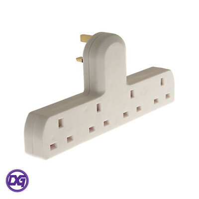 4 Way Gang Extension Wall Socket UK Mains Plug-In Adapter Extender 13A