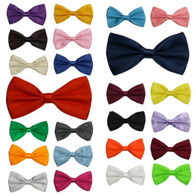 24 Colours Mens Classic Bow Tie Pre-Tied Satin Necktie Plain Wedding Party Prom