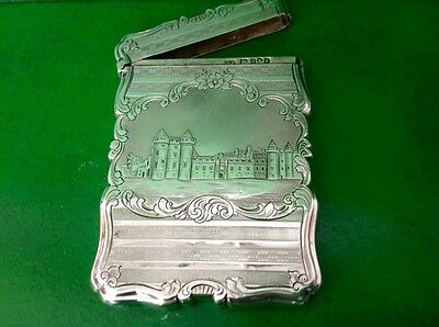Rare Holyroodhouse Castle Top Antique English Sterling Silver Card Case 1852