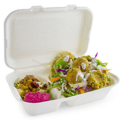 2 Compartment Clamshell Bagasse Takeaway Food Box 7 Inch - Set of 200