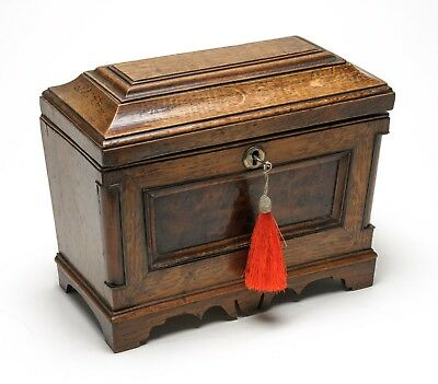 Antique Edwardian Pastiche Oak & Burr Wood Box Made from Earlier Pieces