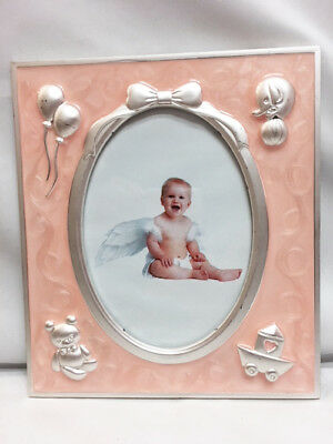 New Baby GIRL's ENAMEL Pink With Silver Accents Center OVAL PICTURE FRAME