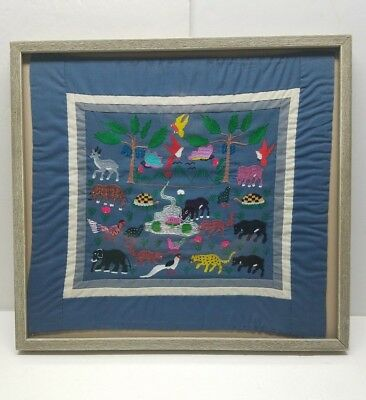 Vintage Embroidery Textile Framed Stitched Folk Art Hmong Story Cloth Tapestry