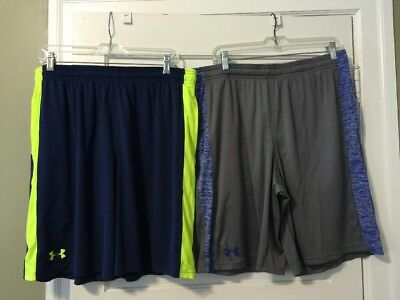 2 pairs Under Armour Mens Size XL Fitness Shorts Drawstrings Pockets Nice!