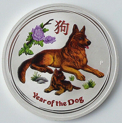 "2018 1 Oz .999 Silver coin Australian Lunar II ""Year of the Dog"" ( Coloured )"
