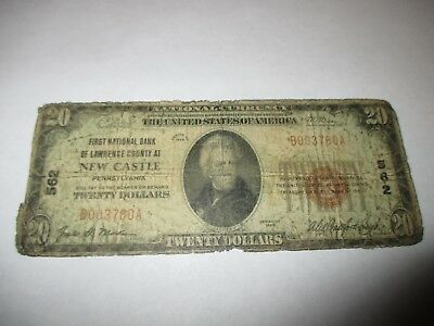 $20 1929 New Castle Pennsylvania PA National Currency Bank Note Bill! #562 RARE!