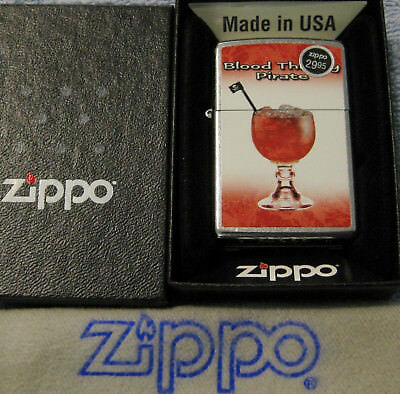 ZIPPO DRINK SERIES Lighter BLOOD THIRSTY PIRATE New Old Stock RUM RECIPE ON BACK