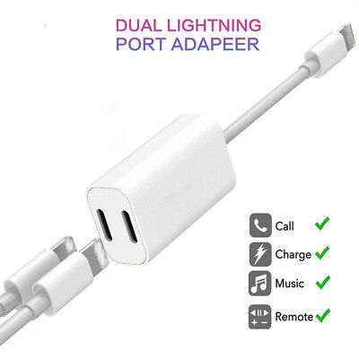 Adapter For Apple iPhone X 7 8 Plus Splitter Audio Earphone AUX Charger Dual NEW