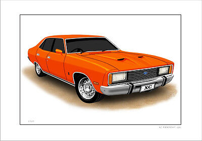 Ford  Xc  Fairmont Gxl Limited Edition Car Drawing  Print  (8 Car Colours)
