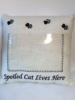 "Cat Paw Prints Photo Pillow ""Spoiled Cat Lives Here"" Insert Is For A 4x6 Photo"
