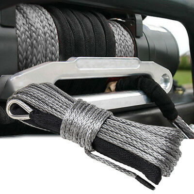 """1//4/"""" x 50/' 7700LBs Synthetic Winch Line Cable Rope with Sheath ATV UTV Grey CE"""