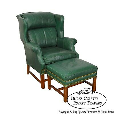 Outstanding Whittemore Sherrill Chippendale Style Green Leather Wing Camellatalisay Diy Chair Ideas Camellatalisaycom