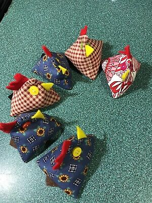 Chicken Vintage Pin Cushion Calico Fabric Hand Made Adorable