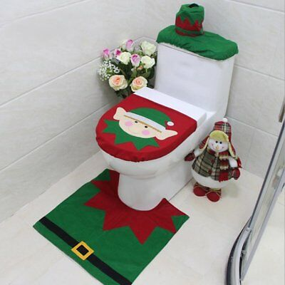 Christmas Decorations Elf Deer Santa Claus Toilet Seat Cover Ornament For FGG
