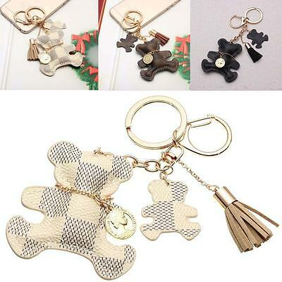 PU Leather Tassel Charm Bear Dog Key ChainRing Women Handbag Bag Pendant Keyring
