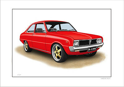 Mazda  R100  Rotary  Limited Edition Car Drawing Print  (8 Car Colours)