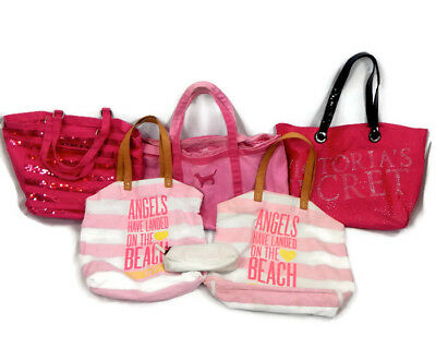 Lot of 6 VICTORIA'S SECRET & PINK Canvas Totes Bags Makeup Case STAINS/WEAR USED