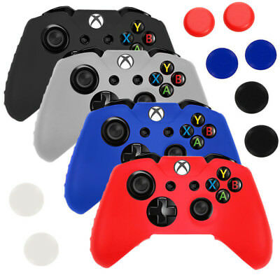 Silicone Soft Rubber Gel Grip Case Skin Cover+Thumbstick Cap Xbox One Controller