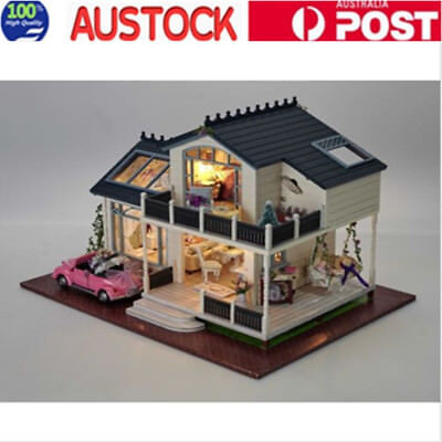DIY Wooden Toy Doll House Miniature Kit With Car Music LED Light Kids Gift AU