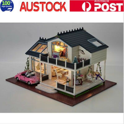 Wooden Dolls House Doll House Dollhouse with Furniture LED Light Toy Car AU