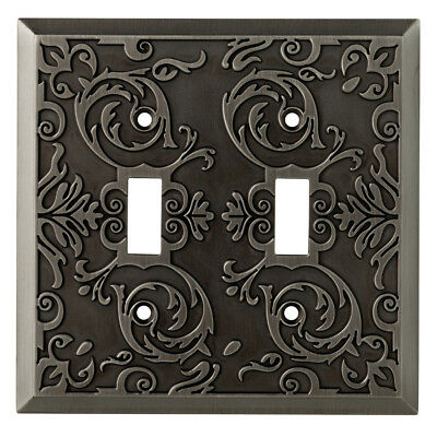 allen + roth Fairhope 2-Gang Heirloom Silver Double Toggle Wall Plate