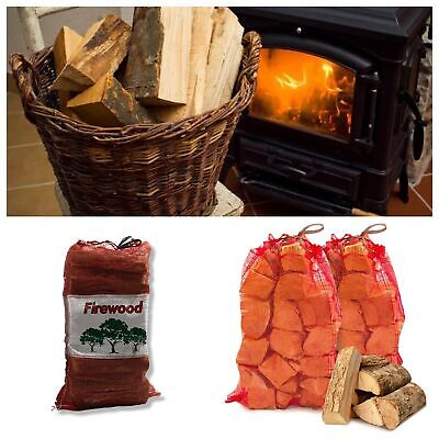 Kiln séché bois de chauffage Seasoned TRONCS, Sacs filet, DURABLE CARBURANT,