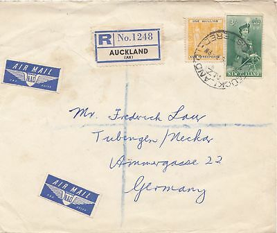New Zealand: 1959 Registered Air Mail from Auckland to Germany