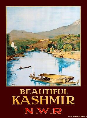 Beautiful Kashmir India Southeast Asia Vintage Travel Advertisement Poster Print