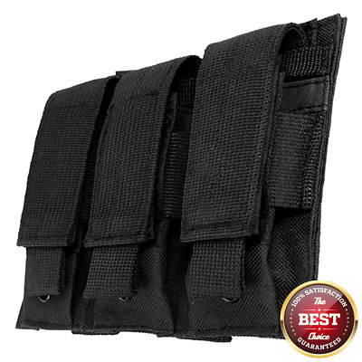 NCSTAR VISM Black Triple MOLLE PALS 9mm 45 Pistol Mag Magazine Pouch Holster