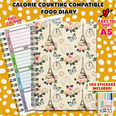 Tracking calorie counting food diary planner log journal book notes fitness diet