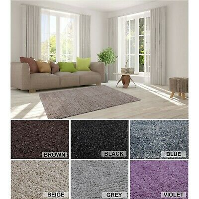 Royal Modern Small-Large Living Room Tri Tone Soft Fluffy Plain Shaggy Area Rugs