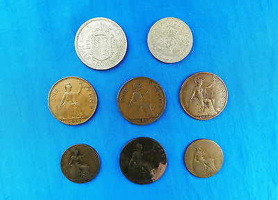 Lot of 8 Vintage Great Britain Coins *1898 - 1954*