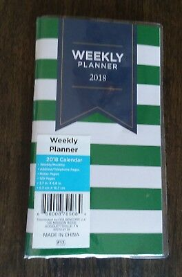 "2018 Weekly Pocket Planner Calendar Organizer Green White Stripe 3.7"" x 6.6"""
