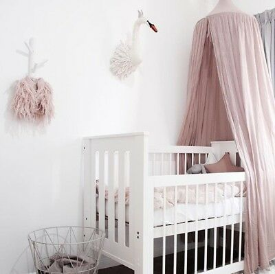 Canopy Tent Mosquito Net Dome Baby Nursery Crib Bedroom Cotton - Blush Pink