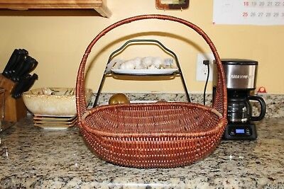 Vintage Antique French Country Woven Wicker Farm Basket Flower Market w/Handle